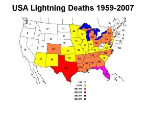 From - Lightning fatalities, injuries and damage reports in the United States, 1959 - 1994, by B. Curran and R. Holle. Updated 1995 - 2007 by Matt Bragaw